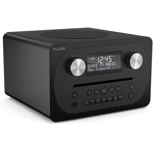 Pure Evoke C-D4 All-in-One Music System with DAB/DAB+/FM Digital Radio, Bluetooth Music Streaming, Dual Alarms and CD Player - Siena Black