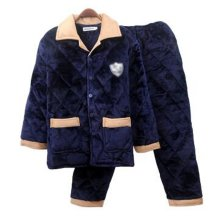Men Pajamas Warm Thick Cotton Winter Suit Modern Set Sleepwear/Nightwear Clothes for Home, C3