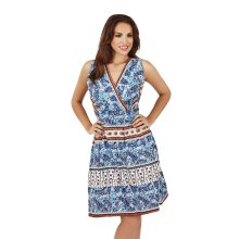 Martildo Fashion, Ladies Knee Length Floral Print Crossover Dress, Blue, Medium (UK 12-14)