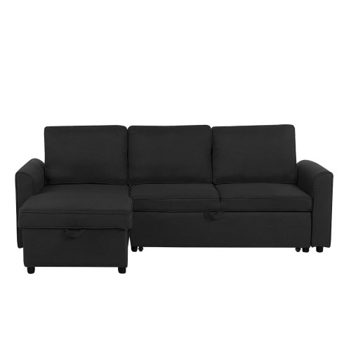 Swell Fabric Corner Sofa Bed With Storage Black Nesna Onthecornerstone Fun Painted Chair Ideas Images Onthecornerstoneorg
