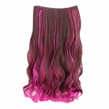 "One-piece Two Tone Clip-on Hairpieces 5 Clips 20"" - Brown/Rose Red"