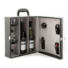 Faux Leather Double Wine Gift with Wine