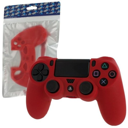 Zedlabz Pro Soft Silicone Protective Cover with Ribbed Handle Grip - Red PS4