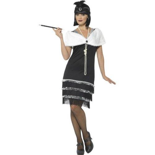 Uk 12-14 Black Ladies Flapper Costume - Womens Fancy Dress Gatsby 1920s -  flapper womens fancy dress costume gatsby ladies 1920s charleston outfit