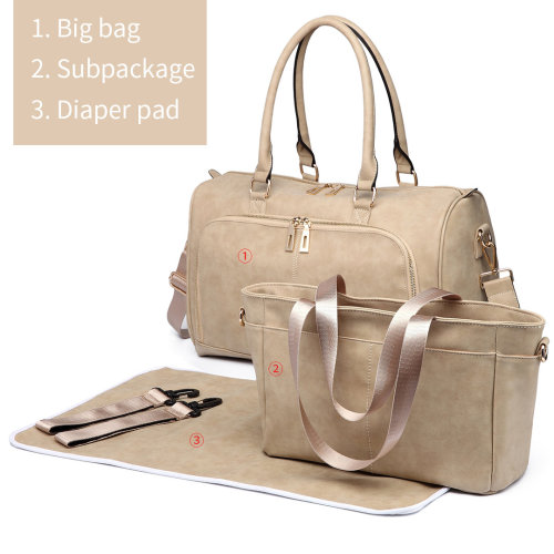 Miss Lulu 3pcs PU Leather Baby Diaper Nappy Changing Bag Set Beige