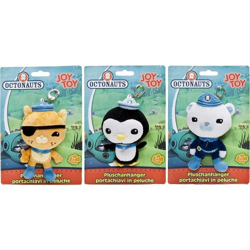 Octonauts Keyring 3 Pack Soft Toy Plush Set - Kwazii Kitten, Peso Penguin & Captain Barnacles Bear