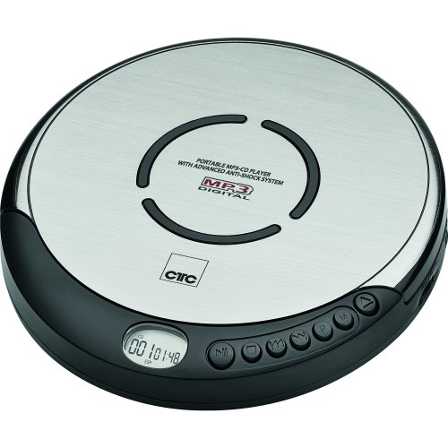 CTC CDP7001 portable CD player with in-ear headphones and LCD display, black