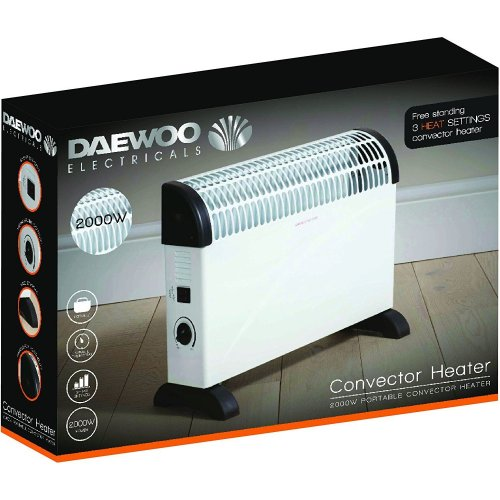 Daewoo Convector Heater 2000w Thermostat Dial 3 Heat Settings