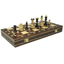 Brown Senator Wooden Chess Set - Weighted Chessmen 16 x 16""