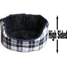 """Dog Bed Thick Black Chequered Material Fleece 18"""""""
