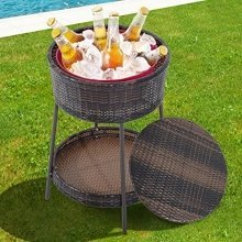 Outsunny Rattan Ice Bucket Bar Table Cooler Cool Drink Coffee Party Pool Garden Patio Storage Box Wicker W/ Lid