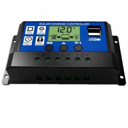 JZK® 20A 12V/24V Intelligent solar panel charge controller with LCD display & USB port, overcurrent protection, solar charge regulator for solar...