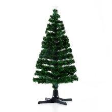 Homcom Rotating Artificial Fibre Optic Christmas Tree Led Scattered Lights Green Xmas (5ft / 150cm)