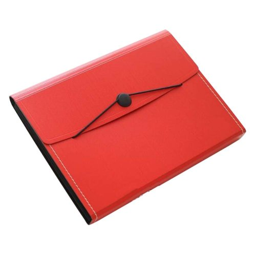 Non-portable Multilayer Student Paper Clip Plastic A4 Information Bag-Red