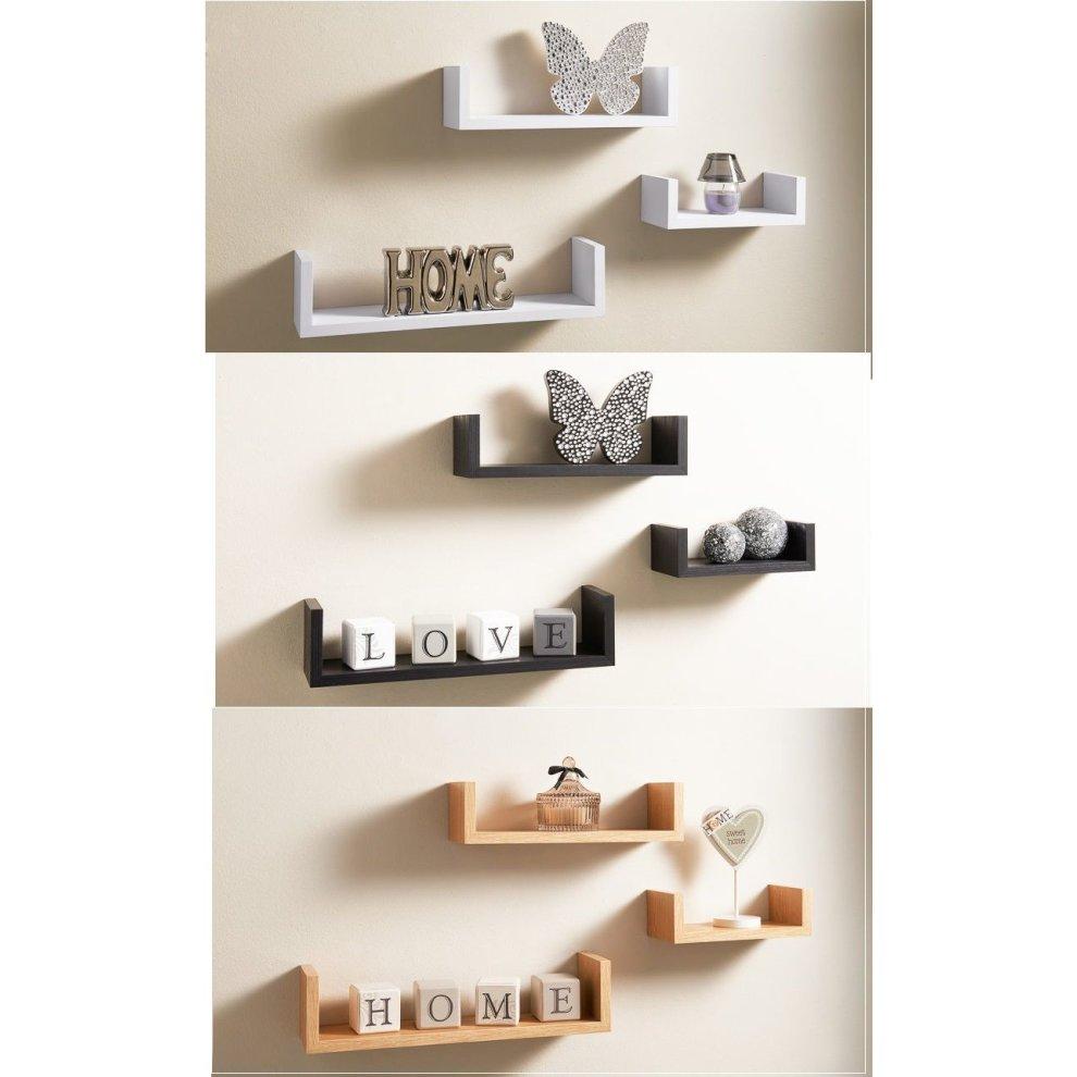 new product c3781 325a2 Set of 3 U Shape Wall Shelves Display Shelf