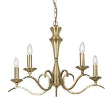 Traditional Brass 5 Light Pendant Convertible To Flush