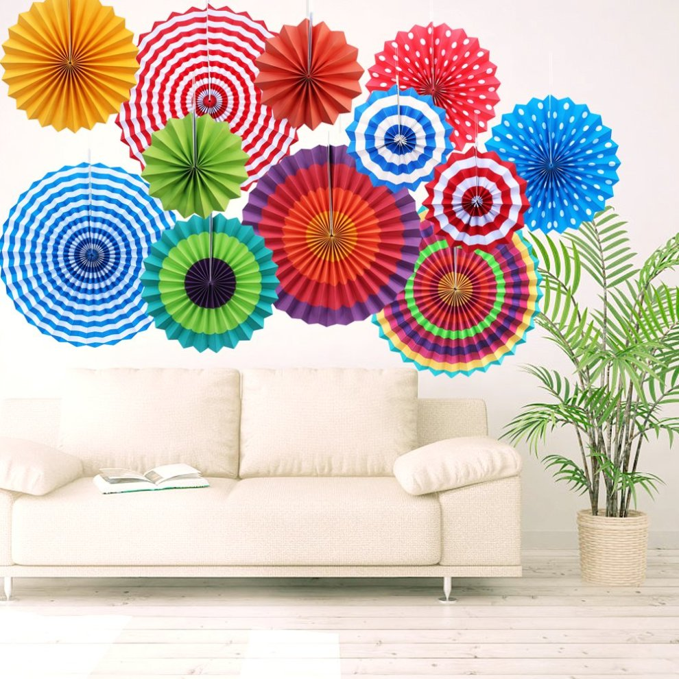 Yotako 12x Round Wheel Tissue Paper Fan Decorations Hanging Rosette Backdrop Medallions Pinwheels