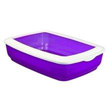 Trixie Mio Cat Litter Tray With Rim, 43 x 32 x 12cm - Rim Coloured Easy Wash -  trixie litter tray cat rim coloured easy wash plastic kitten toilet