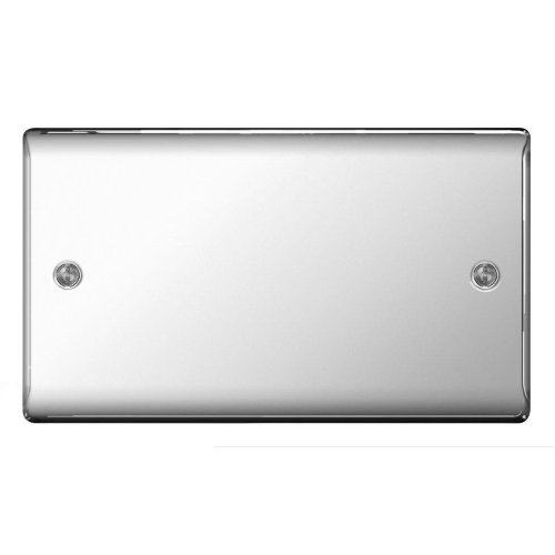 BG Electrical NPC95 Nexus Metal Polished Chrome 2 Gang Blank Plate