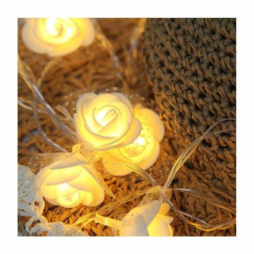 40 LED White Rose Flower Indoor Fairy Lights String Light by Millya