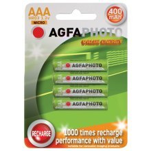 AGFAPHOTO Rechargeable Nimh Battery - Pack of 4 - Size AAA