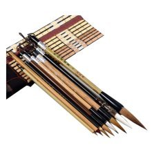 8 PCS Chinese Calligraphy / Kanji Brush Set (Goat Hair, Jian Hair, Wolf Hair)