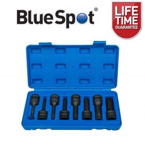 """BlueSpot 8 Piece 1/2"""" Dr Impact Torx Bit Sockets T30 to T80 Star Keys"""
