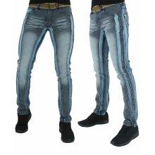Peviani Mens Skinny Fit Blue Star Distressed Jeans
