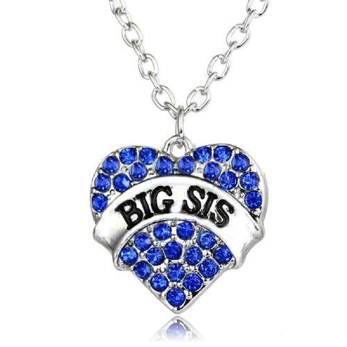 Silver-Tone Coloured Heart Big Sis Blue Engraved Pendant Necklace 2.0 x 2.0cm With 18 Inch Chain Rhinestone Love Heart Mum Family