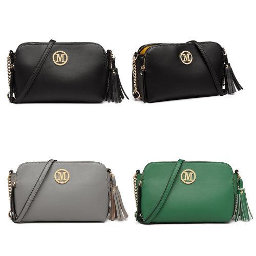 Miss Lulu PU Leather Tassel Ornament Shoulder Bag