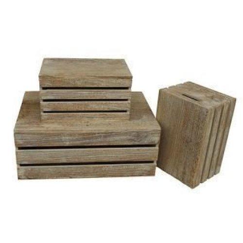 Set of 3 Oak Effect Lidded Storage Box