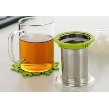 Glass Tea Mug With Infuser | Stainless Steel Strainer | 2 Colours Available