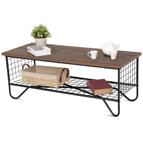 Industrial Coffee Table Wooden Metal Frame Low Shelf