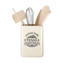 Vintage Home Utensil Holder - Cream