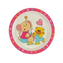 3 Pieces Of Fashion Cartoon Elephant And Bear Pattern Drop Resistance Plate