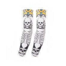 UV Sun Protection Arm Sleeves Breathable Long Sleeves To Cover Arms, Skull (A)