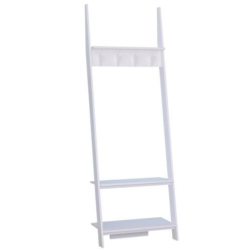 HOMCOM 3 Tier Ladder Shelf Wall Storage Display Rack Garment Tidy Rails Leaning Clothes Hanger Bookcase Plant Flower Stand 4 Hooks White