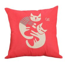 Decor Cotton Linen Decorative Throw Pillow Case Cushion Cover,Two Cats