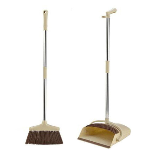 Durable Removable Broom and Dustpan Standing Upright Grips Sweep Set with Long Handle, #D