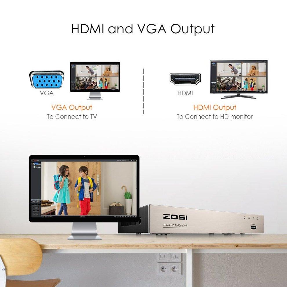 ZOSI Home CCTV Camera System 8 Channel 1080P Lite Surveillance DVR kit and  4x1280TVL Outdoor Dome CCTV Cameras 720P HD Smart Security Camera System