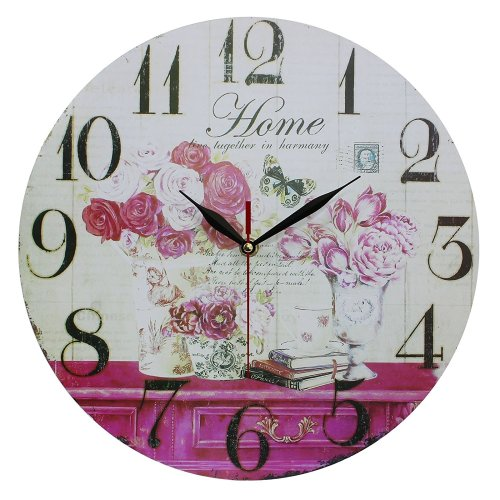 Obique Home Decoration 34cm MDF Flowers and Home Scene Wall Clock