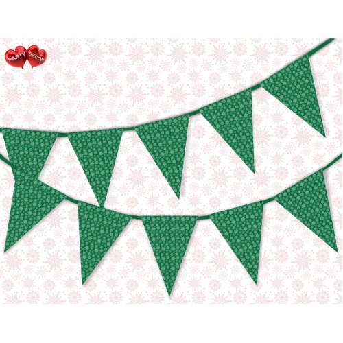 Winter pattern snowflake green Christmas Bunting Banner by PARTY DECOR