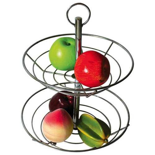 Top Home Solutions 2 Tier Chrome Fruit Vegetable Basket Bowl Steel Wire Rack Stand Storage Holder