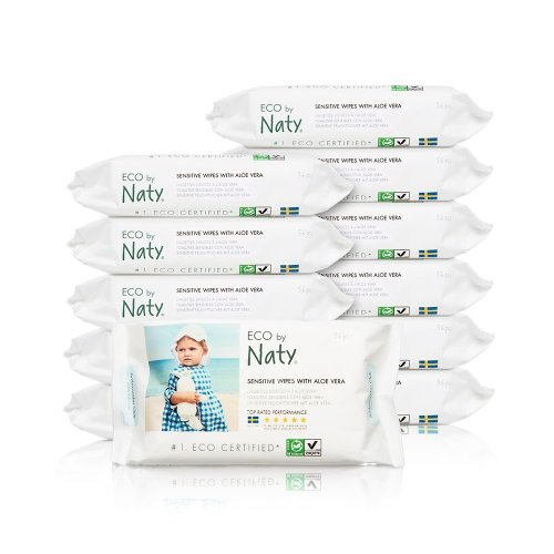 Naty by Nature Babycare ECO Wipes with Aloe - 12 x Packs of 56 (672 Wipes)