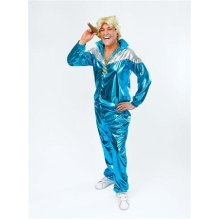 Turquoise Men's Shell Suit Costume -  mens shell suit fancy dress costume turquoise 80s 1980s scouser outfit shiny adult