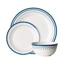 Avie 12Pc Saturn Dinner Set, Blue & White