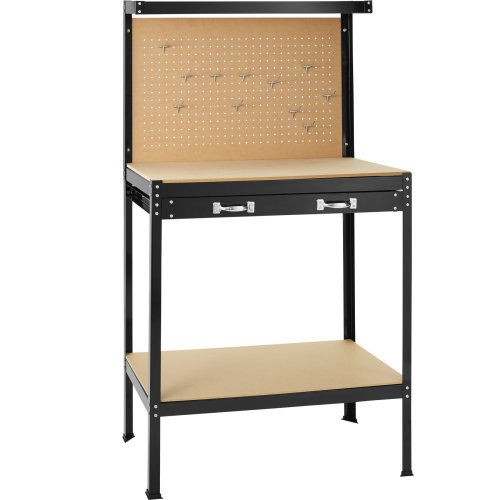 Workbench with pegboard and drawer 81 x 41 x 145 cm