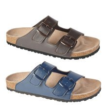 Bentham mens leather Twin Buckle Foot Bed Mule