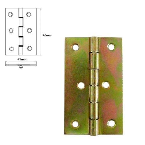 1 Pcs Folding Closet Cabinet Door Butt Hinge Brass Plated 70x43mm