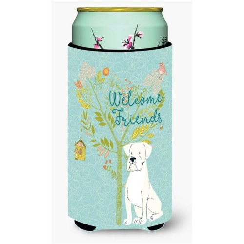 Carolines Treasures BB7580TBC Welcome Friends White Boxer Tall Boy Beverage Insulator Hugger